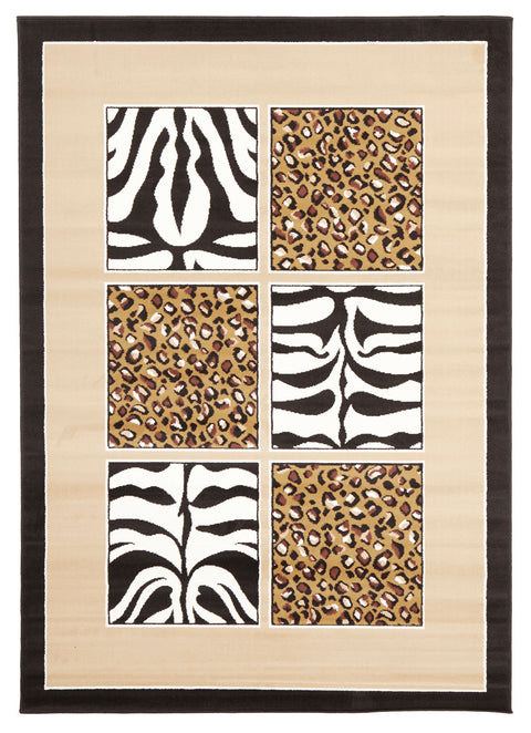 Ruby African Print Black And Off White Rug