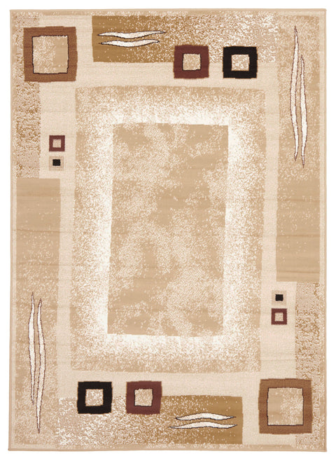 Ruby Border Pattern Beige And Brown Rug