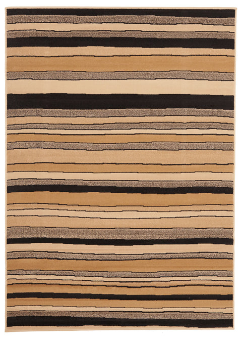 Ruby Modern Multi Stripes Rug Beige Black