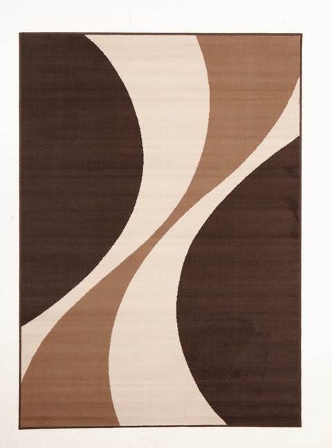 Ruby Funky Retro Pattern Rug Brown Beige Cream