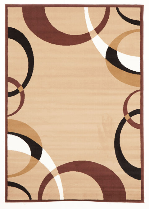 Ruby Cool Beige And Brown Border Pattern Rug