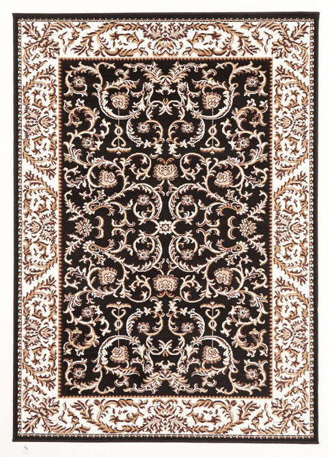 Ruby Classic Patterned Rug Black