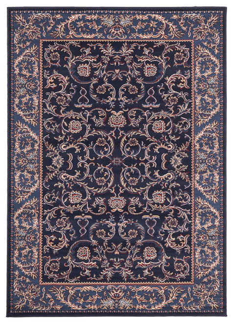 Ruby Classic Pattern Navy Blue Rug