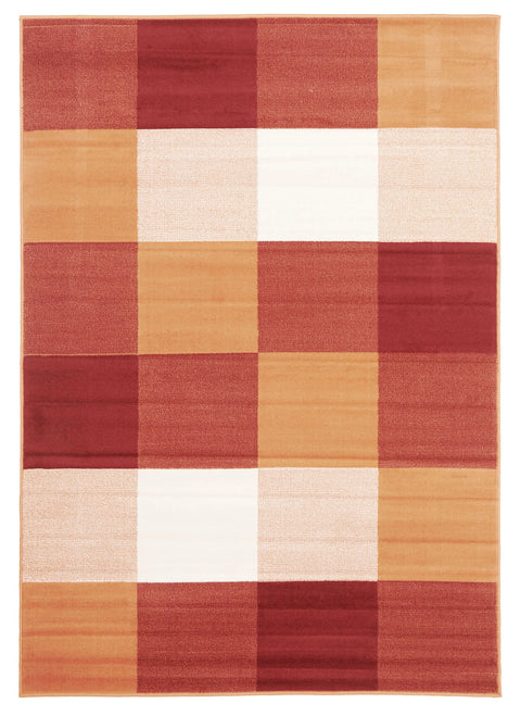 Ruby Modern Squares Rug Rust Red