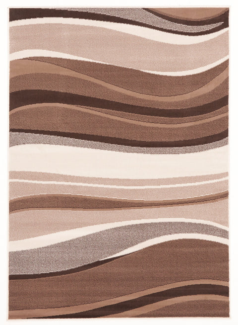 Ruby Modern Beige Brown Rug Wave Pattern