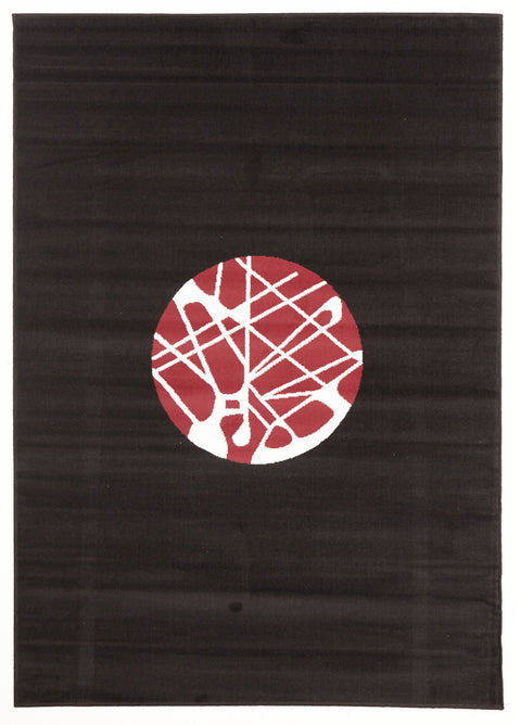 Ruby Cool Modern Rug Black Red Off White