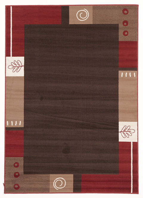 Ruby Border Pattern Rug Brown Beige Red