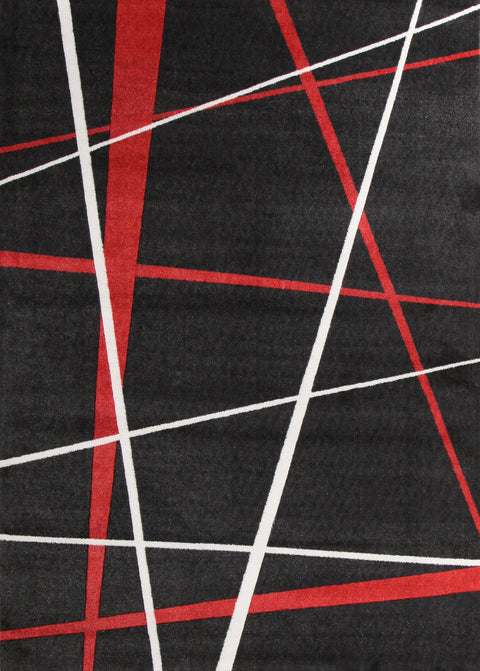 Brighton Modern Lines Rug Black Red
