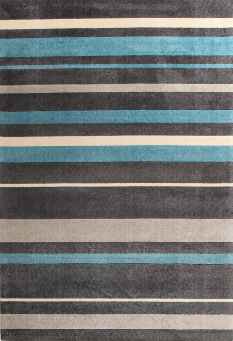 Brighton Stylish Stripe Rug Charcoal Blue