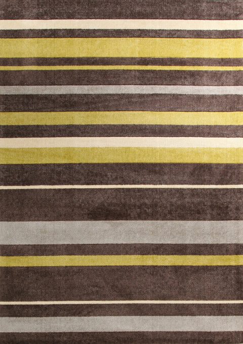 Brighton Stylish Stripe Rug Brown Green