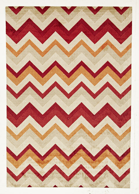 Brighton Stunning Chevron Design Rug Rust Red