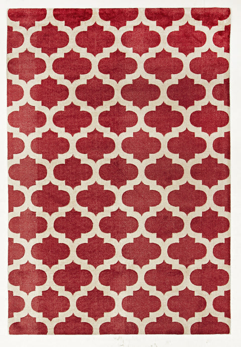Brighton Trellis Stylish Design Rug Red