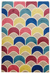 Brighton Fish Scale Design Rug Raspberry Blue