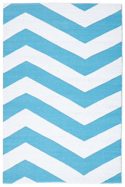 Coastal Indoor Out door Rug Chevron Turquoise White