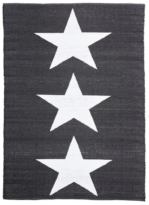 Coastal Indoor Out door Rug Star Black White
