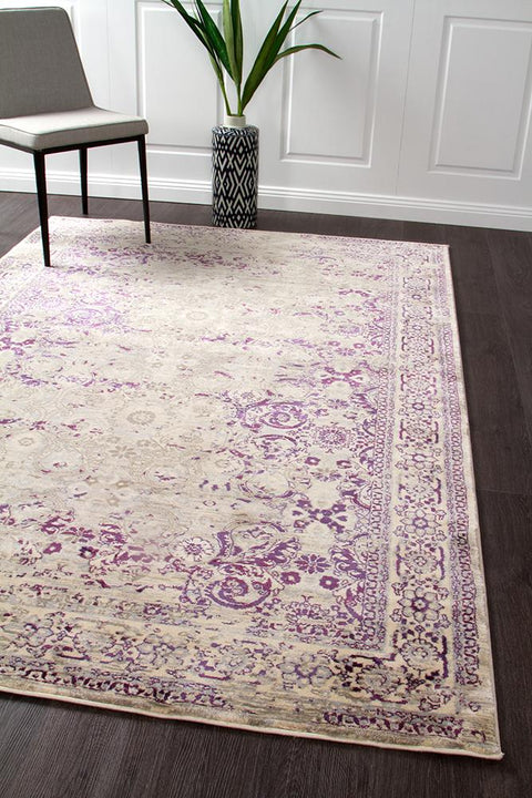 Isfahan Transitional Modern Rug Aubergine White Grey