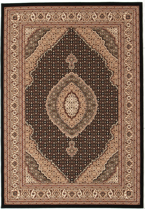 Emerald Stunning Formal Oriental Design Rug Black