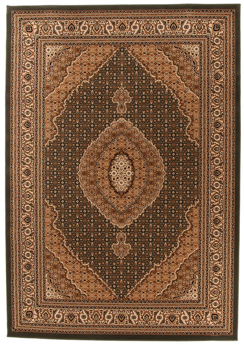 Emerald Stunning Formal Oriental Design Rug Green