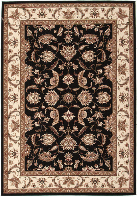 Emerald Stunning Formal Floral Design Rug Black