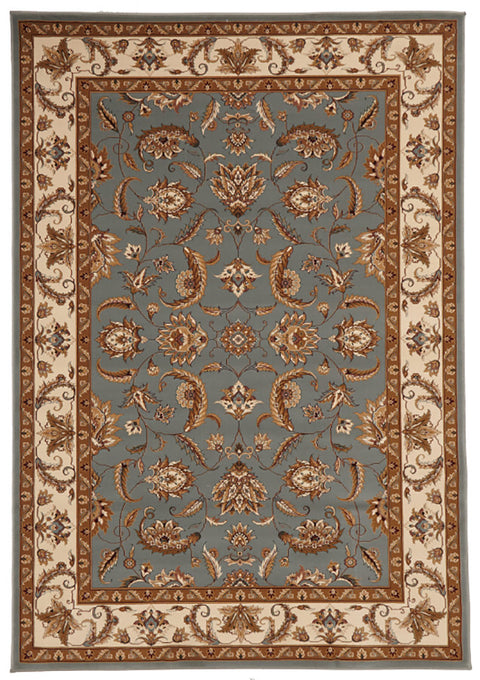 Emerald Stunning Formal Floral Design Rug Blue