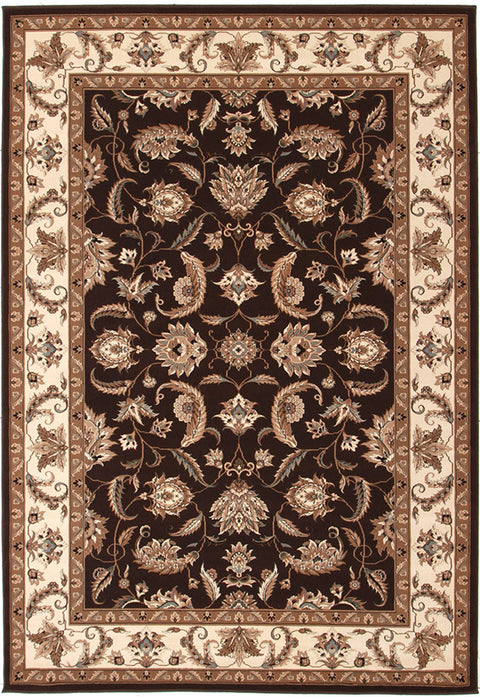 Emerald Stunning Formal Floral Design Rug Brown