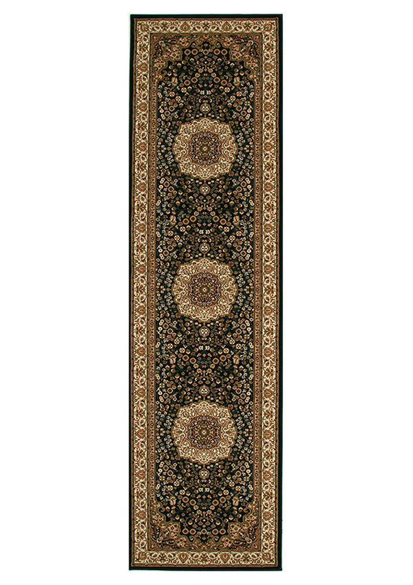Emerald Stunning Formal Medallion Design Runner Rug Black