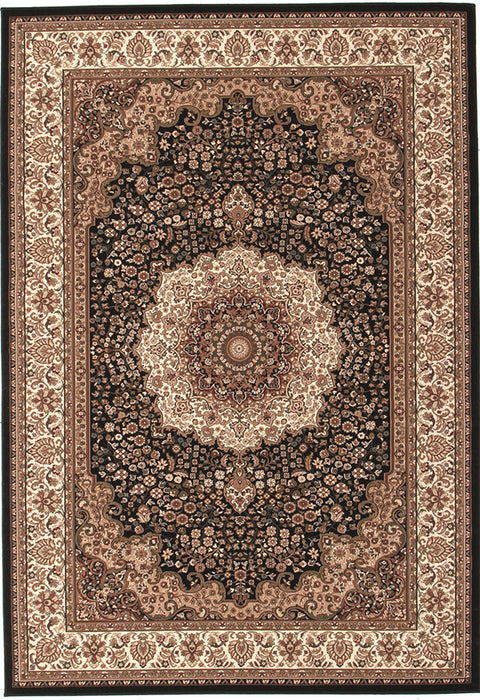 Emerald Stunning Formal Medallion Design Rug Black