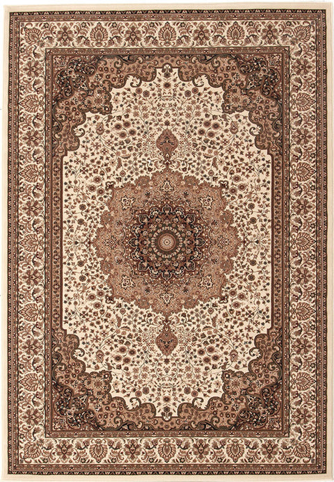 Emerald Stunning Formal Medallion Design Rug Cream