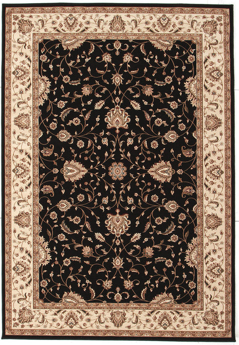 Emerald Stunning Formal Classic Design Rug Black