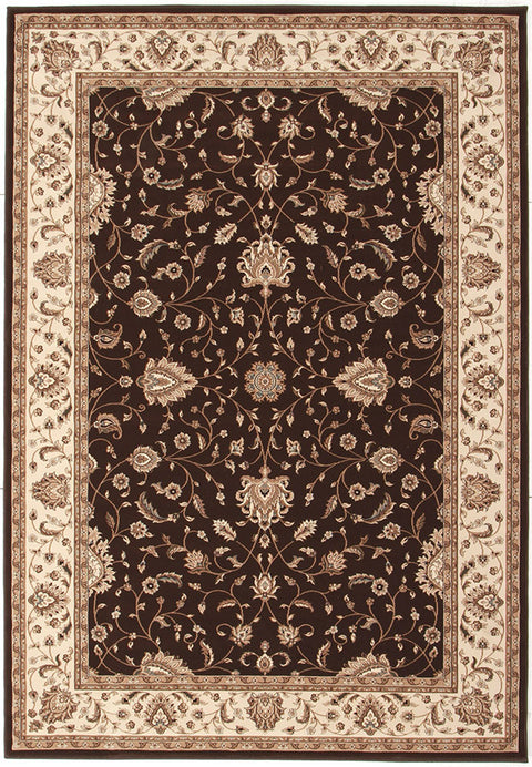 Emerald Stunning Formal Classic Design Rug Brown