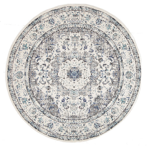 Estella Mist White Transitional Round Rug