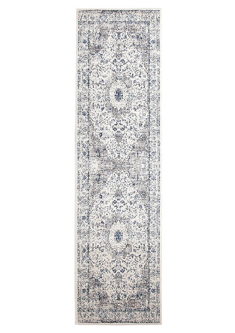 Estella Mist White Transitional Runner Rug