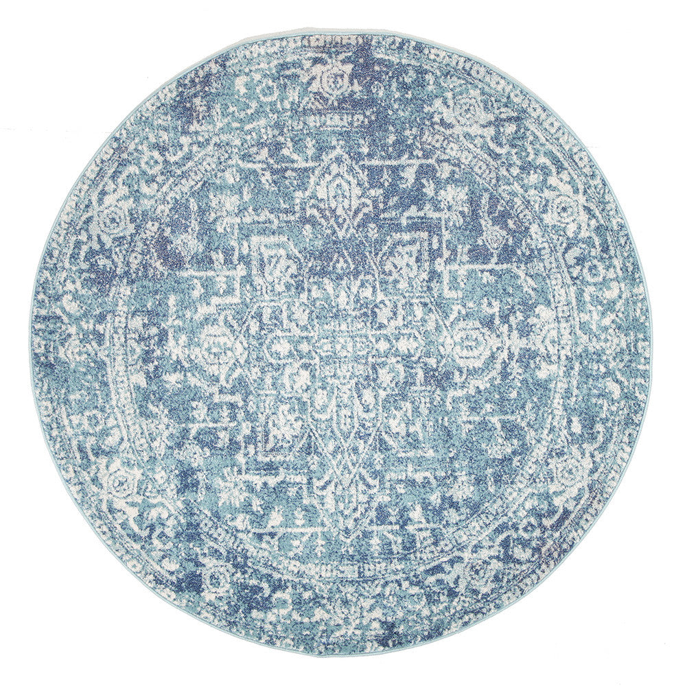 Estella Muse Blue Transitional Round Rug