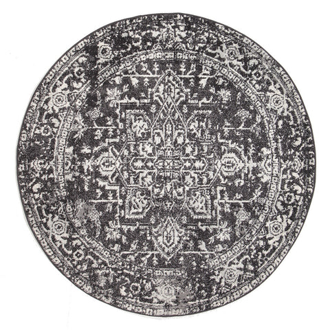 Estella Scape Charcoal Transitional Round Rug
