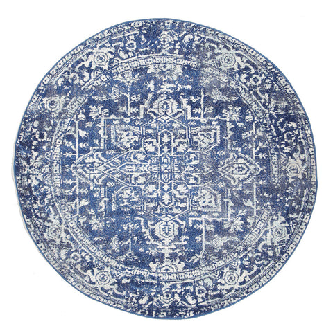 Estella Contrast Navy Transitional Round Rug