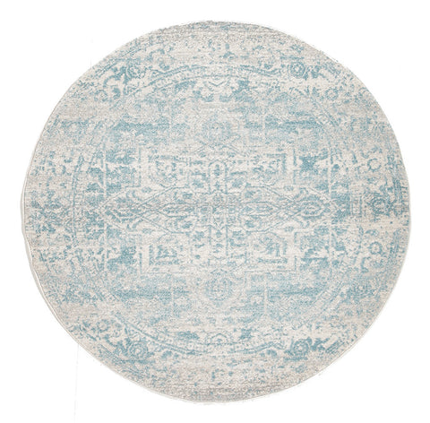 Estella Glacier White Blue Transitional Round Rug