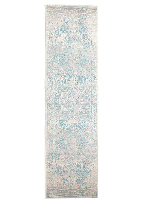 Estella Glacier White Blue Transitional Runner Rug