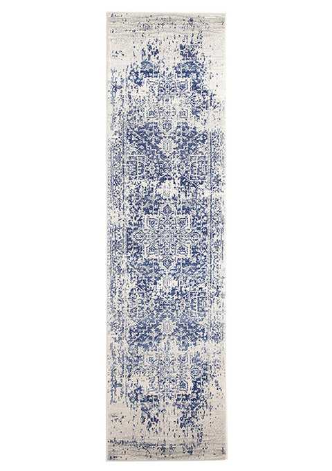 Estella Horizon White Navy Transitional Runner Rug