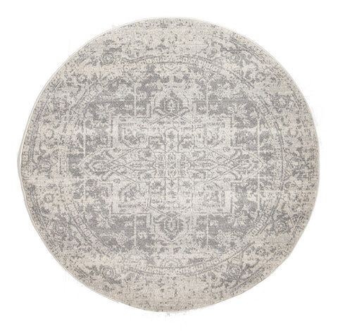 Estella Dream White Silver Transitional Round Rug