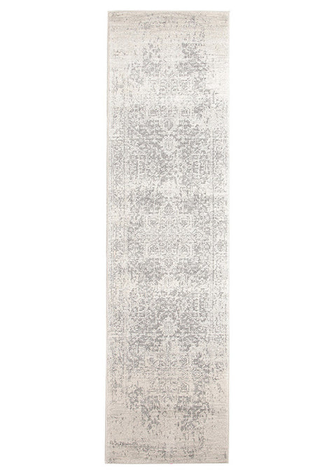 Estella Dream White Silver Transitional Runner Rug