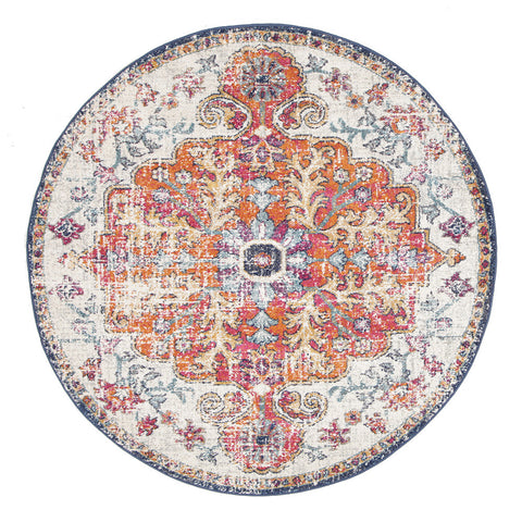 Estella Carnival White Transitional Round Rug