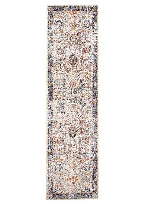 Estella Peacock Ivory Transitional Runner Rug