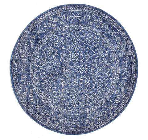 Estella Artist Navy Transitional Round Rug