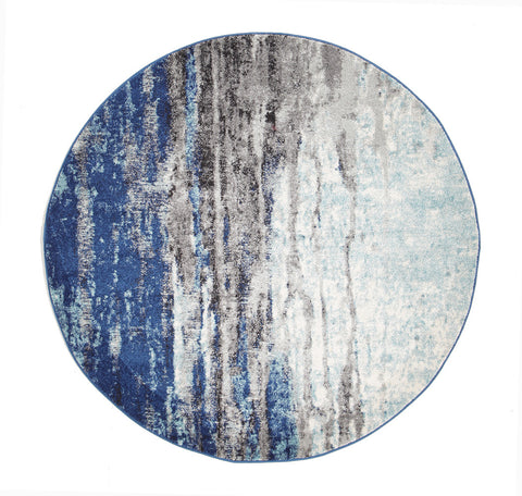 Estella Transpose Blue Transitional Round Rug