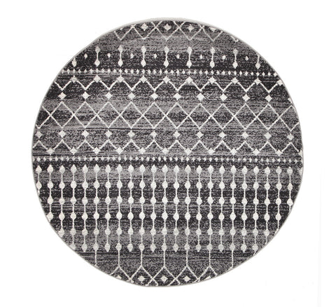 Estella Simplicity Black Transitional Round Rug