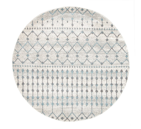Estella Slate White Transitional Round Rug