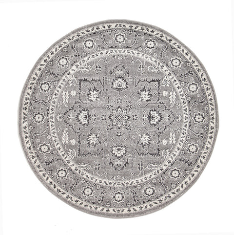 Estella Stone Grey Transitional Round Rug
