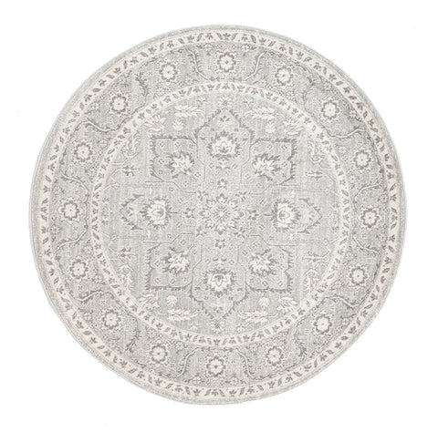 Estella Silver Flower Transitional Round Rug