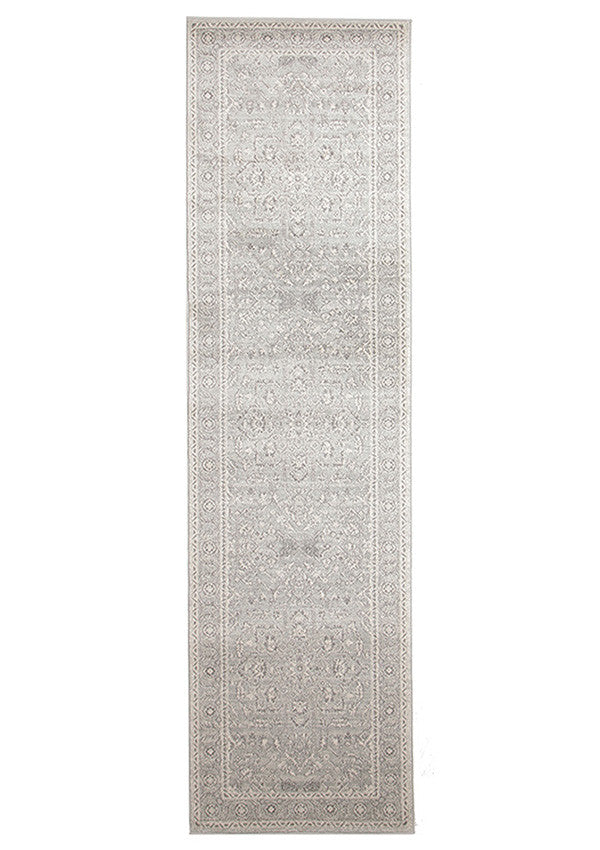 Estella Silver Flower Transitional Runner Rug