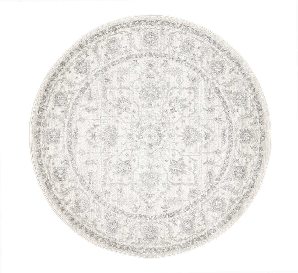 Estella Winter White Transitional Round Rug